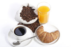 French breakfast from coffee cup with orange juice. And croissant Stock Photography