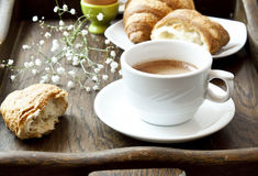 French Breakfast with Coffee, Flower and Croissants. Cappuccino Coffee Cup with Croissants, French Breakfast Stock Images