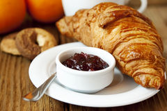 French Breakfast with Croissant and Berry Jam Stock Photography