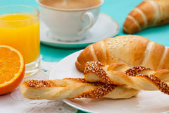 French breakfast with croissants Royalty Free Stock Photo