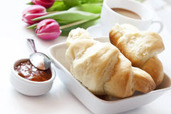 French Breakfast with Croissants Coffee and Flowers Stock Image