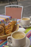 French  breakfast with croissants, coffee and milk Royalty Free Stock Photo