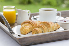 French breakfast with croissants,coffee and orange juice Royalty Free Stock Photo