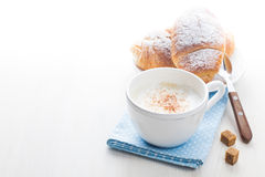 French Breakfast. With croissants and coffee served on white wooden table Stock Photography