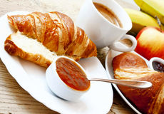 French Breakfast with Croissants. French Breakfast with Fresh Croissants and Apricot Jam Stock Image