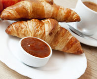 French Breakfast with Croissants Royalty Free Stock Photography