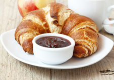 French Breakfast with Croissants Royalty Free Stock Photos
