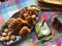 French breakfast. Fresh French Breakfast with Croissants Royalty Free Stock Photo