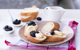 French breakfast in the garden, snack on baguette. Snack on french baguette on a wooden board, mulberry Royalty Free Stock Photography
