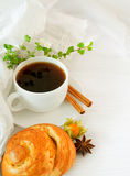 The French breakfast on lacy napkins Stock Images