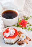 The French breakfast on lacy napkins Royalty Free Stock Images