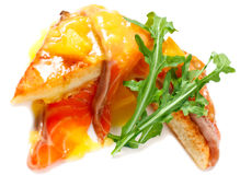 French breakfast the toast with an egg and salmon Stock Photography
