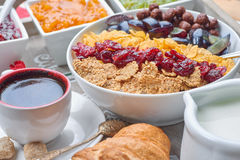 French breakfast. On a wooden tray Stock Image