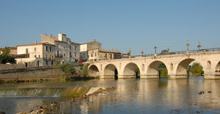 French bridge in sommieres. Medieval bridge of sommieres, little town in gard, france Stock Photo