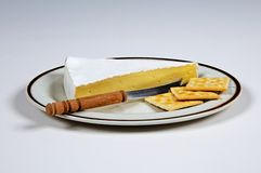 French Brie Cheese and crackers. Wedge of French Brie cheese on an oval plate with crackers and a cheese knife Stock Photography