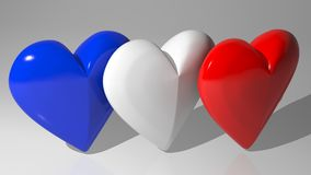 French / British / American flag hearts Stock Photo