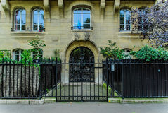 French building entrance beautiful wood door in Paris. French classic wooden building entrance beautiful wood door in Paris Stock Images