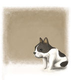 French Bulldog. With brush background Vector Illustration