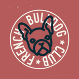 French Bulldog Club Circle Emblem Design. Vector Image. Stock Photography