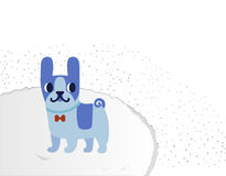 French bulldog on a fluffy carpet. Vector illustration Royalty Free Stock Images