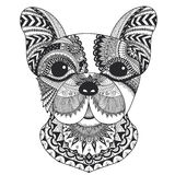 French bulldog line art design for coloring book for adult , T - shirt design and other decorations Stock Photos