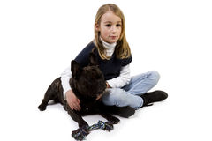 French bulldog and little girl playing Royalty Free Stock Images