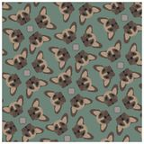 French bulldog pattern on olive background. Vector vector illustration