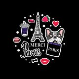 French Bulldog set. Eiffel Tower and cute dog faces. Vector hand drawn Sticker. Paris shopping bag. Sticker on black vector illustration