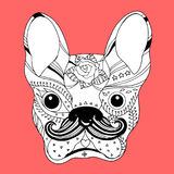 French bulldog sugar skull, frenchie cute dog day of the dead, vector Stock Images