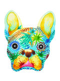 French bulldog sugar skull, frenchie cute dog day of the dead Stock Photos