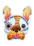French bulldog sugar skull, frenchie cute dog day of the dead Royalty Free Stock Photography