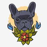 French Bulldog Vintage Traditional Tattoo Influenced Aesthetic Graphics For Tee Print t shirt Vector Media