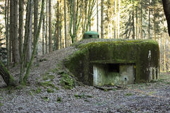French bunker ruin near Langensoultzbach, Vosges, France. It was built before WWII as part of the Maginot Line Royalty Free Stock Photo