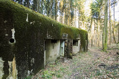 French bunker ruin near Langensoultzbach, Vosges, France. It was built before WWII as part of the Maginot Line Royalty Free Stock Photos