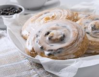 French buns with cinnamon and raisins stock images