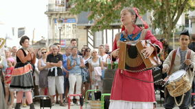 French Cabaret Street Musicians stock footage