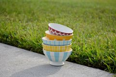 French Cafe au Lait Bowls. Vintage French Cafe au Lait  bowls in assorted colors and patterns Stock Photography