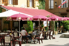 French Cafe in the sun stock images
