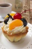 French cake with cherries and cream Stock Photo