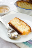 French cake with lavender flowers and lemon glaze Stock Photography