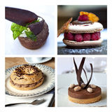 French cakes collage Stock Photo