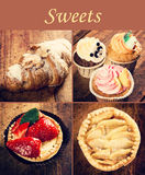 French cakes on wood background Royalty Free Stock Image