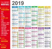 2019 french calendar easy to customize stock illustration