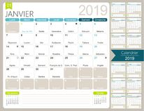 French calendar 2019. / Calendar 2019, set of 12 months January - December, French printable monthly calendar template, including name days, lunar phases and royalty free illustration