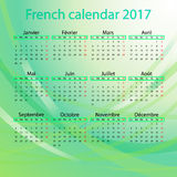 French calendar 2017 on green background. This is vector illustration ideal for printing, web and app, printing house Royalty Free Stock Photo