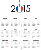 French Calendar grid for 2015 with flag like tag. Mondays first. Vector illustration stock illustration