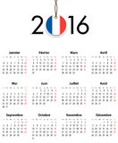 French Calendar grid for 2016 with flag like tag Stock Photos