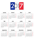 French Calendar grid for 2017 year flag colors. French Calendar grid for 2017 year. Flag colors under 2017 digits. Best for calendar print, business, web design Stock Images
