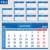 French calendar 2016 Stock Photos