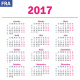 French calendar 2017 Stock Image